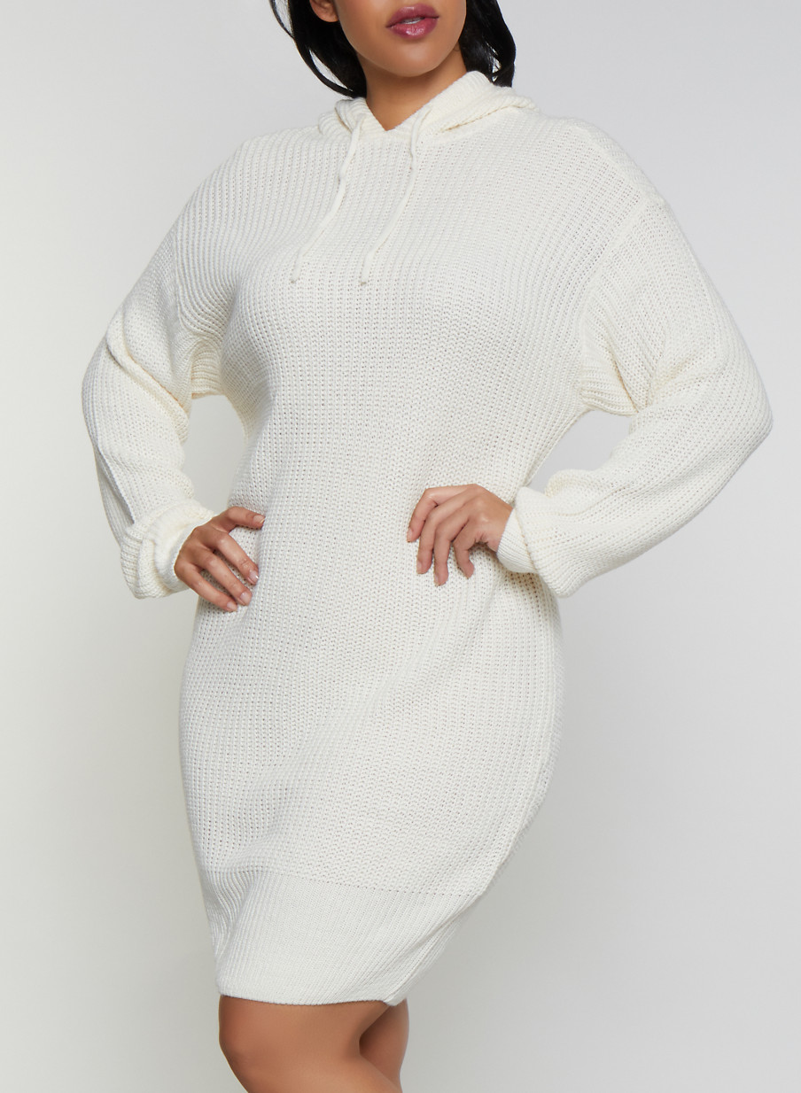 Plus Size Long Sleeve Hooded Sweater Dress