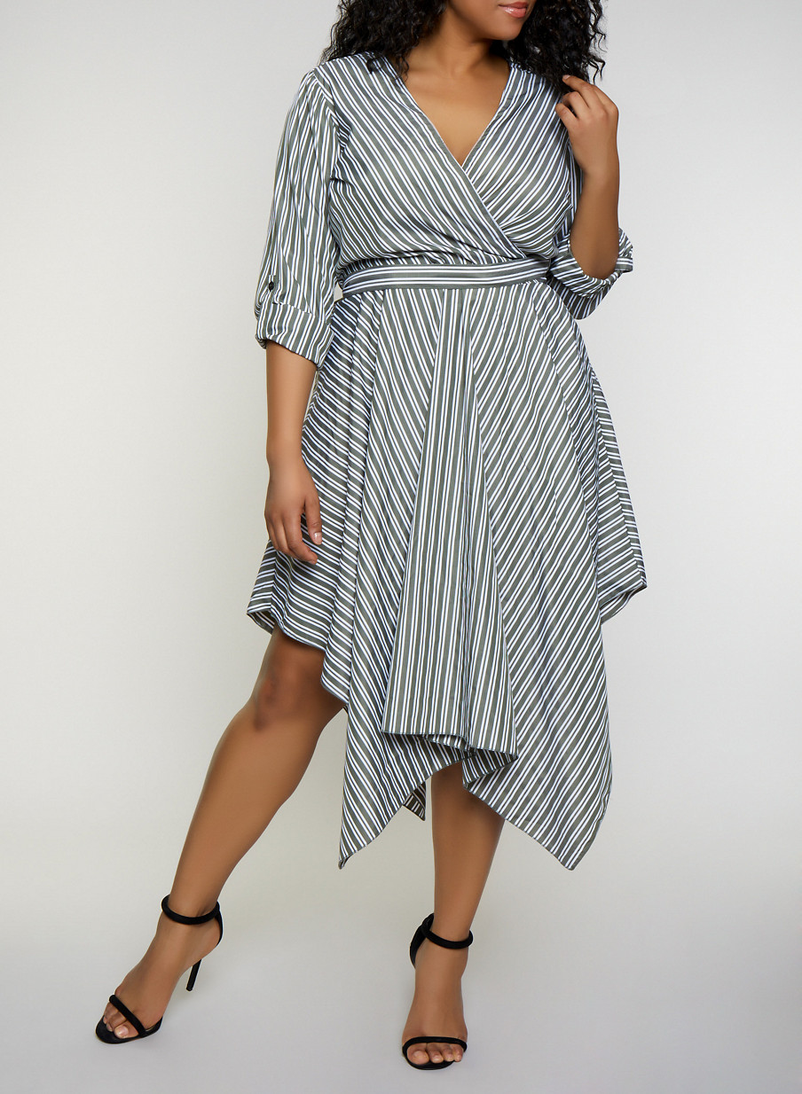 Plus Size Striped Asymmetrical Faux Wrap Dress