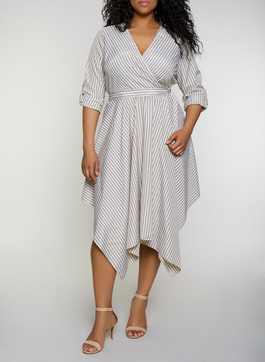 Plus Size Striped Faux Wrap Dress | 3390056121504