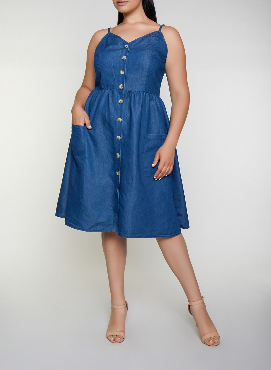 Plus Size Button Front Chambray Skater Dress