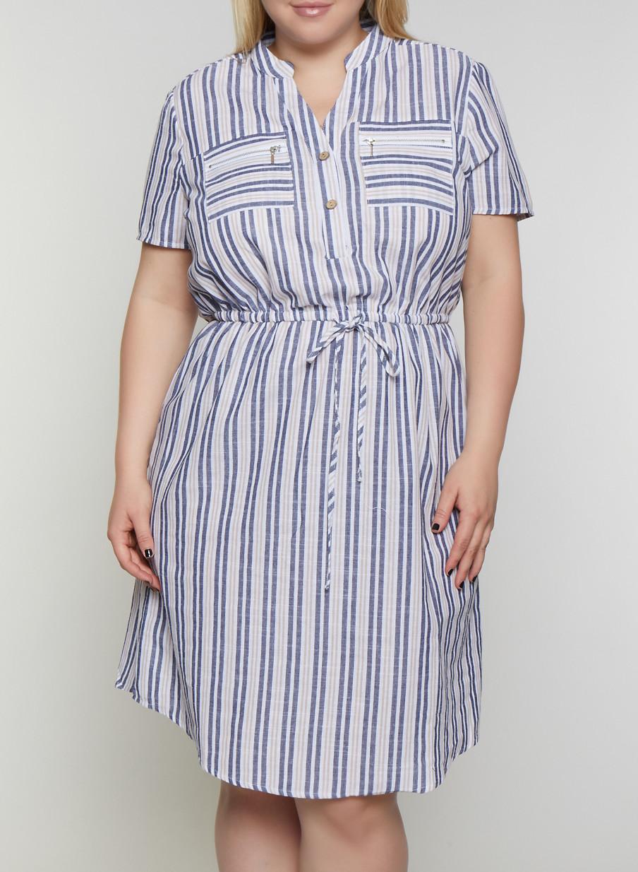 Plus Size Striped Half Button Linen Dress