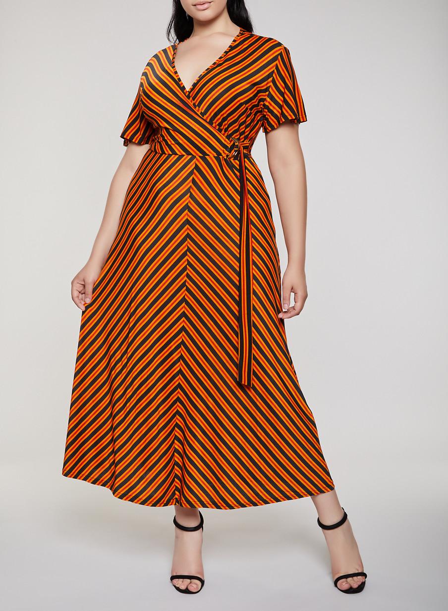 ef4ef9ce524 Plus Size Striped Faux Wrap Maxi Dress