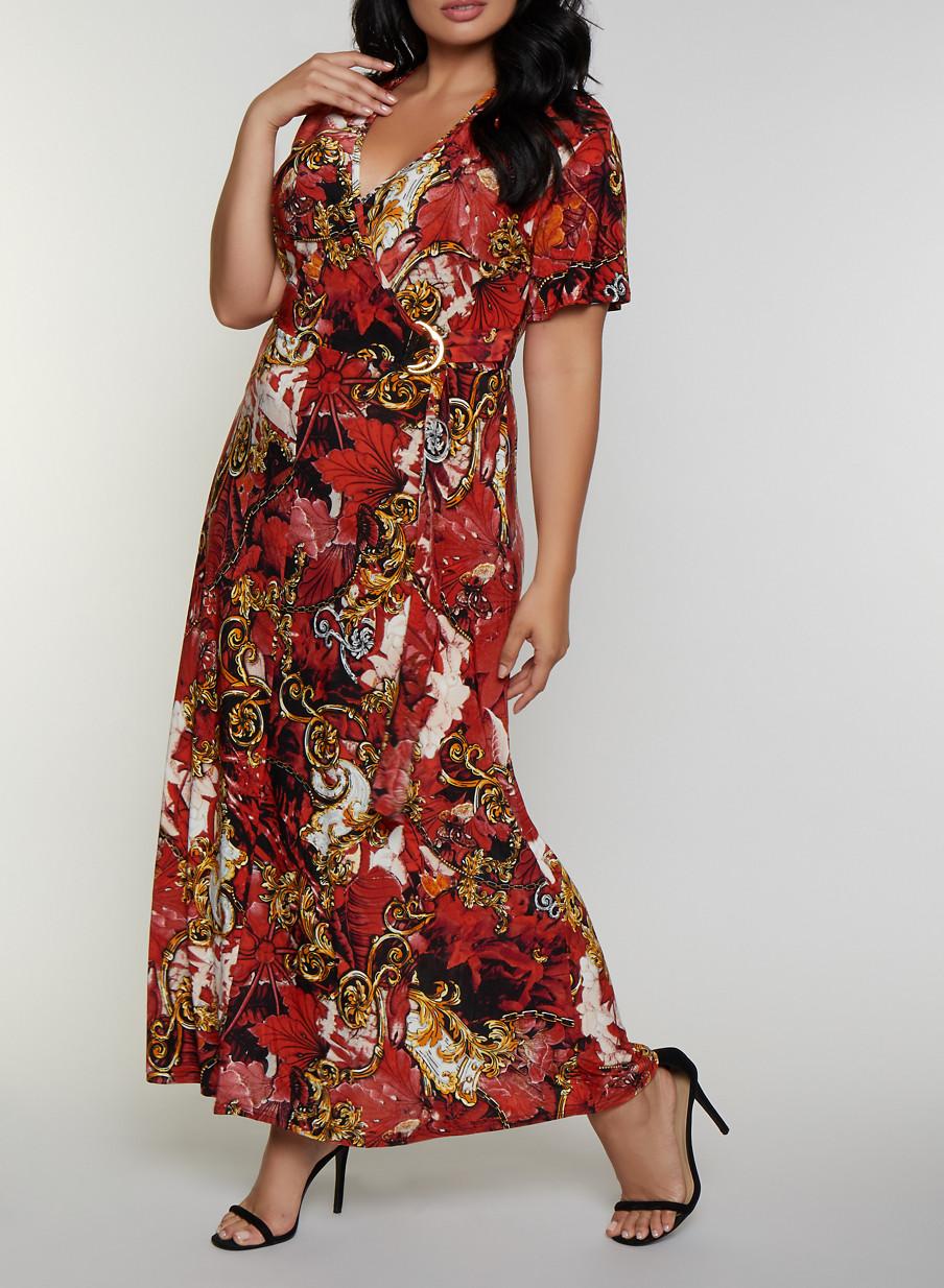 Plus Size Floral Baroque Print Faux Wrap Maxi Dress - Rainbow