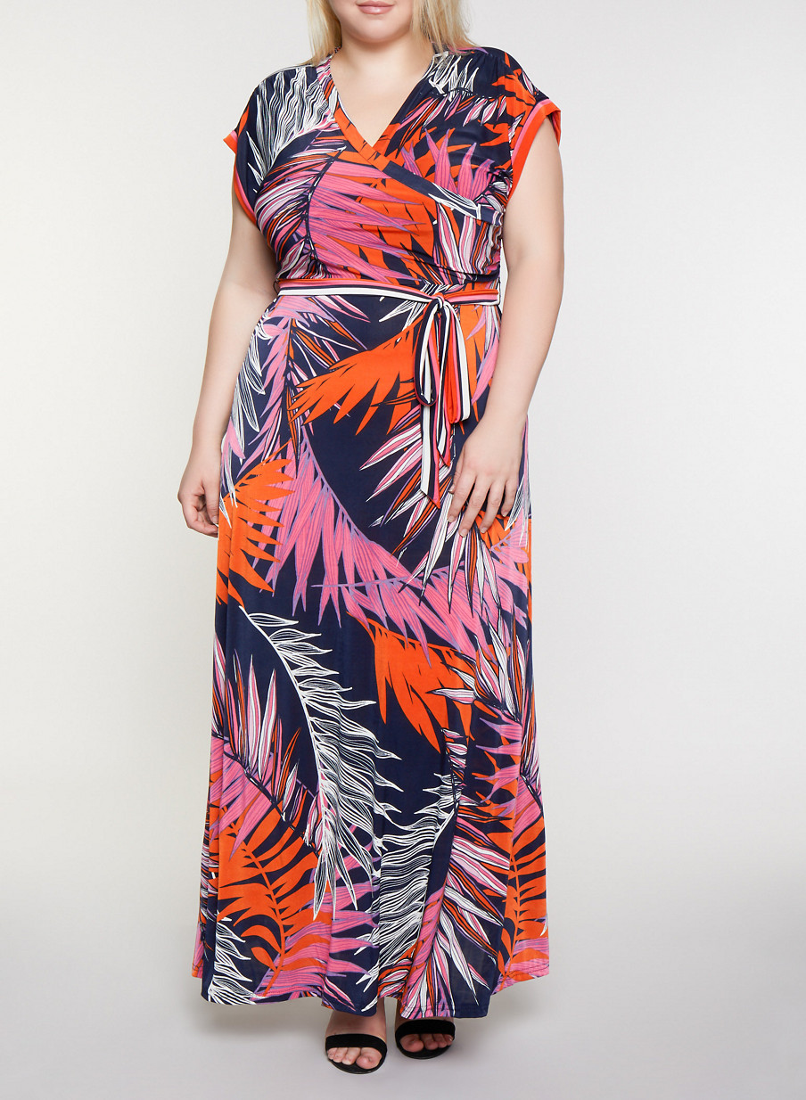 Plus Size Faux Wrap Tropical Print Maxi Dress