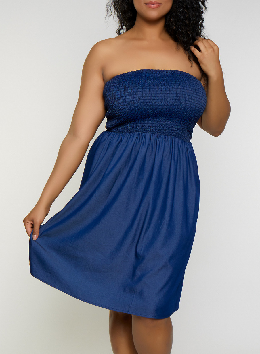 Plus Size Smocked Chambray Skater Dress