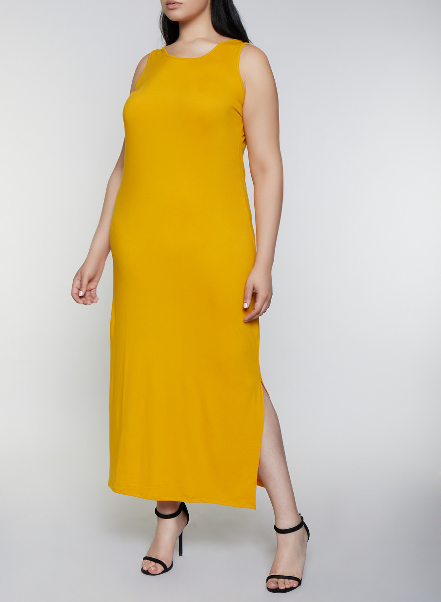 Plus Size Solid Side Slit Maxi Tank Dress