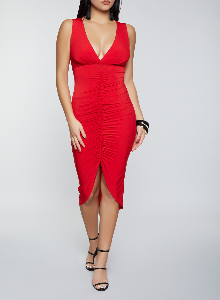 Ruched Front Bodycon Dress