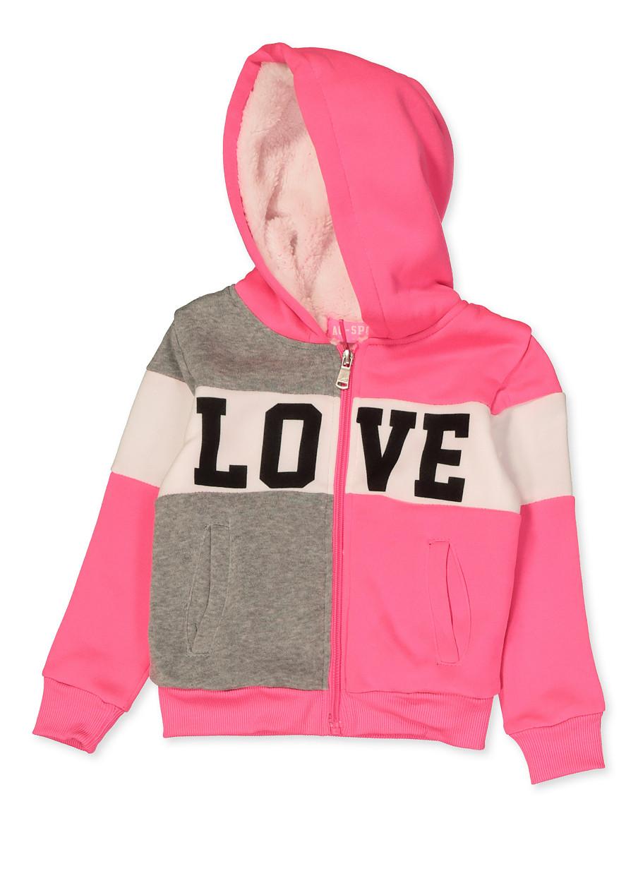 Real Love Girls 2-Piece Sherpa Lined Hoodie Jog Set