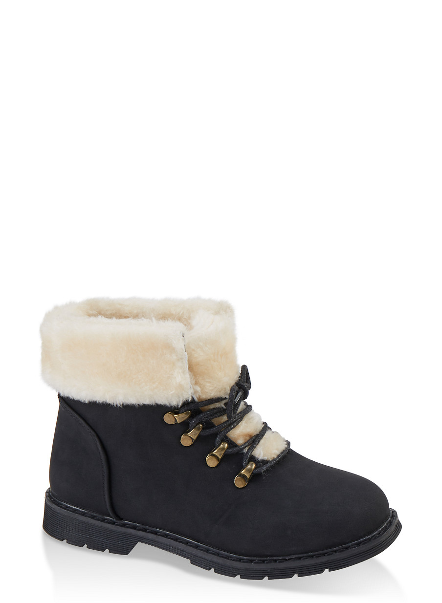 Girls Sherpa Lined Lace Up Boots