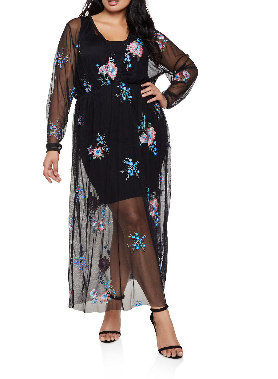 Plus Size Embroidered Mesh Faux Wrap Maxi Dress