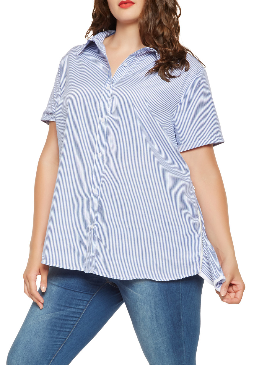 best selection of color brilliancy full range of specifications Plus Size Striped Zip Side Shirt