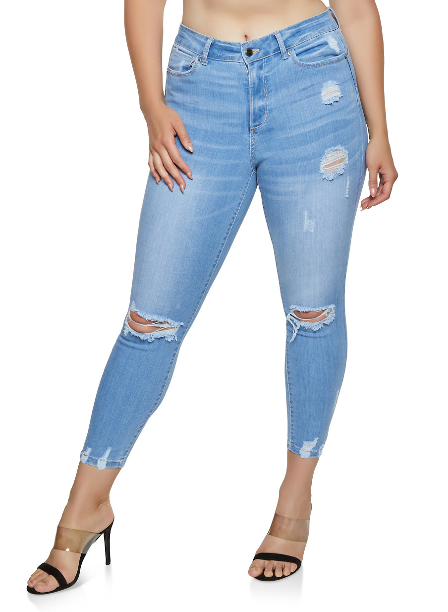 9a703b37a Plus Size WAX Distressed Push Up Jeans | 3870071610134 - Rainbow
