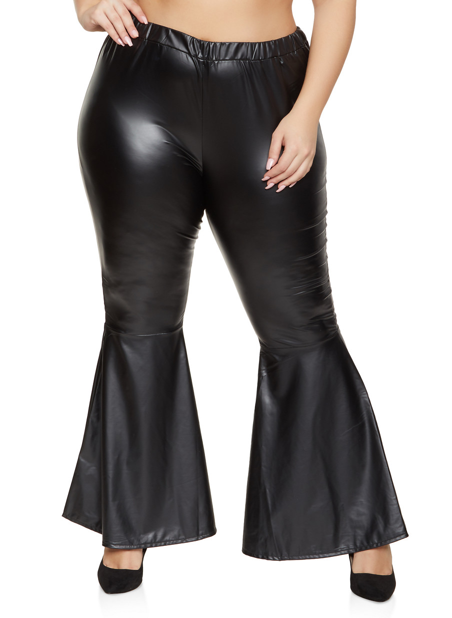 Women/'s Faux Leather Flared High Waist Pants Lace Up Bell-Bottom Trousers Club