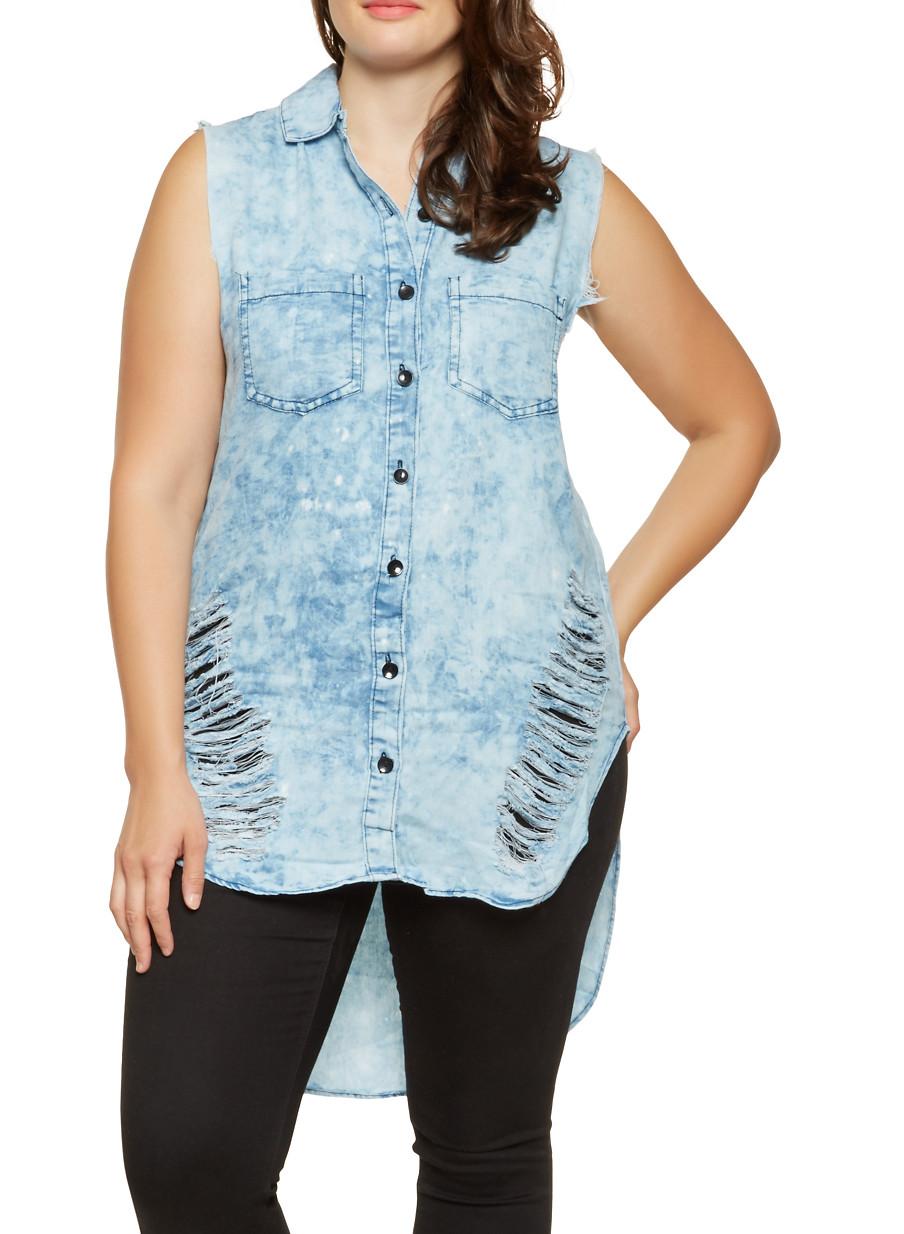 32a8411d05f Plus Size High Low Denim Shirt Dress - BCD Tofu House