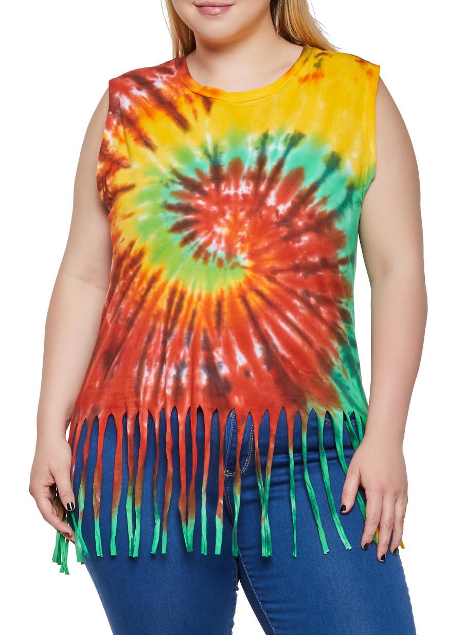Plus Size Tie Dye Fringe Tank Top