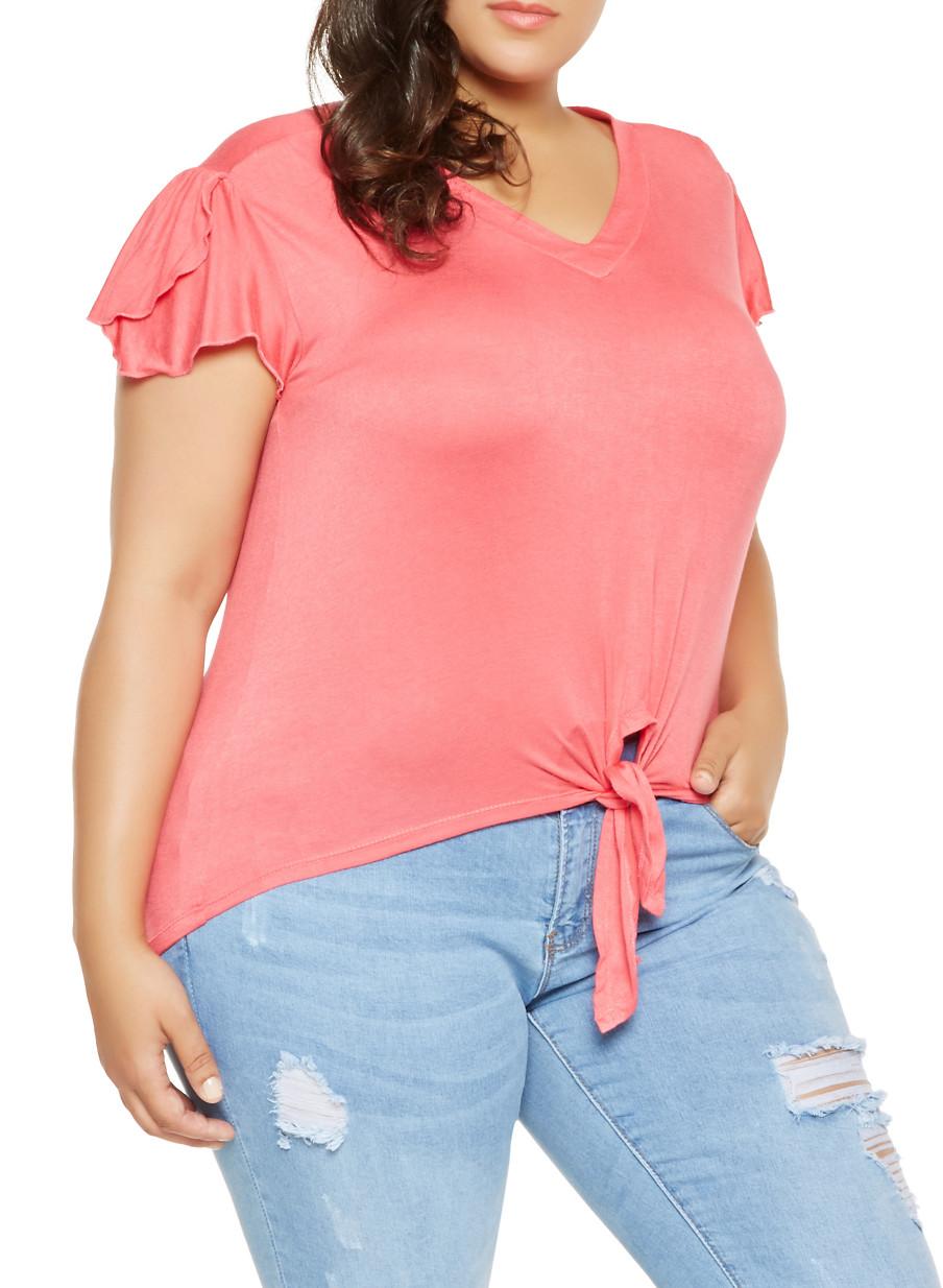 3622039b8f Denim Tie Front Shirt Plus Size