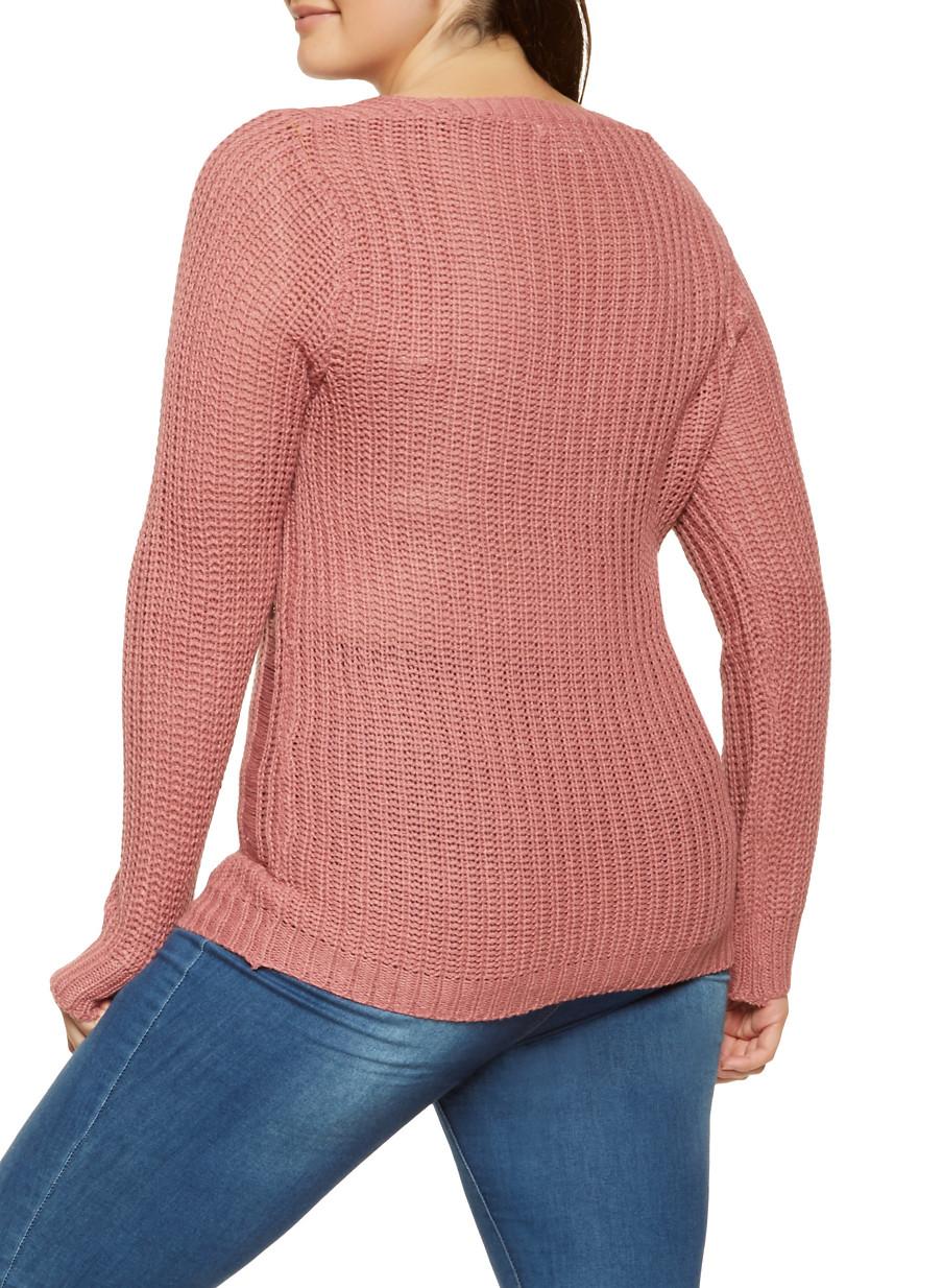 Plus Size Distressed Knit Sweater Rainbow