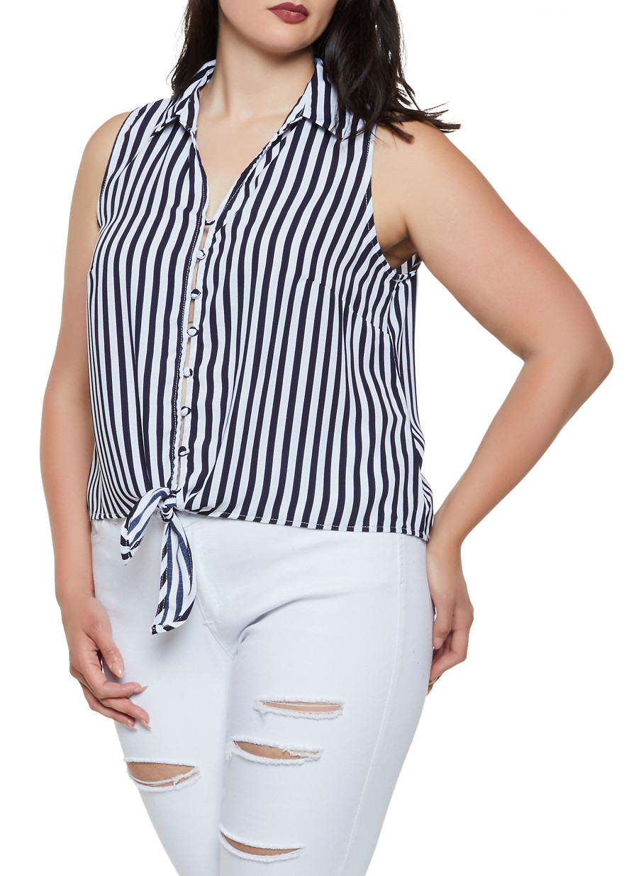 a1a5583a74feab Plus Size Striped Sleeveless Button Front Top - Rainbow