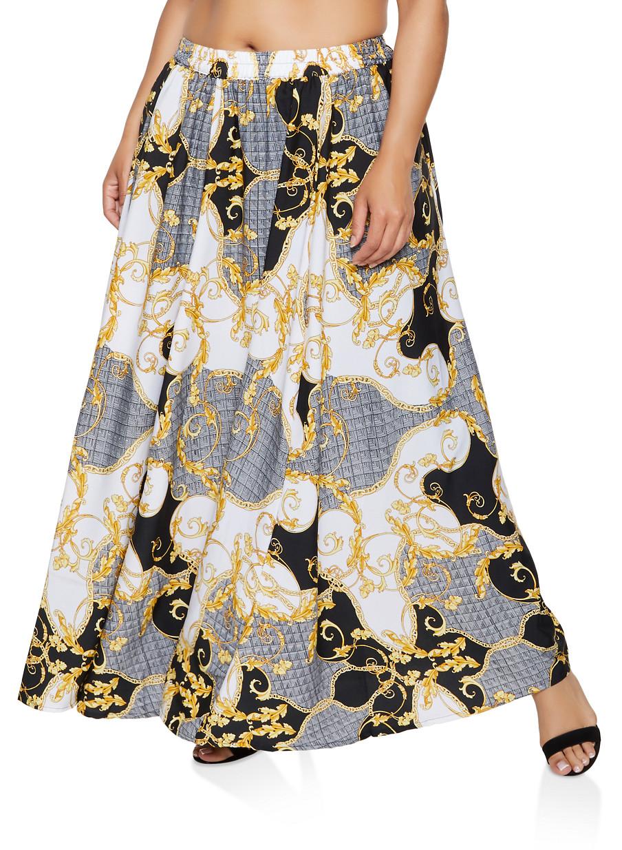 5fe85dd64b4 Plus Size Status Print Maxi Skirt - Rainbow
