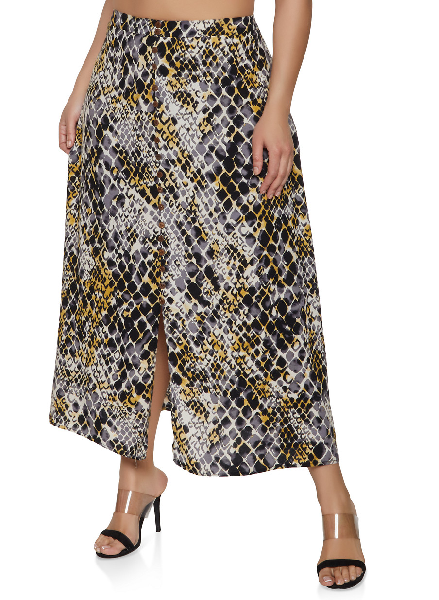 902cf20682 Plus Size Snake Print Faux Button Maxi Skirt - Rainbow