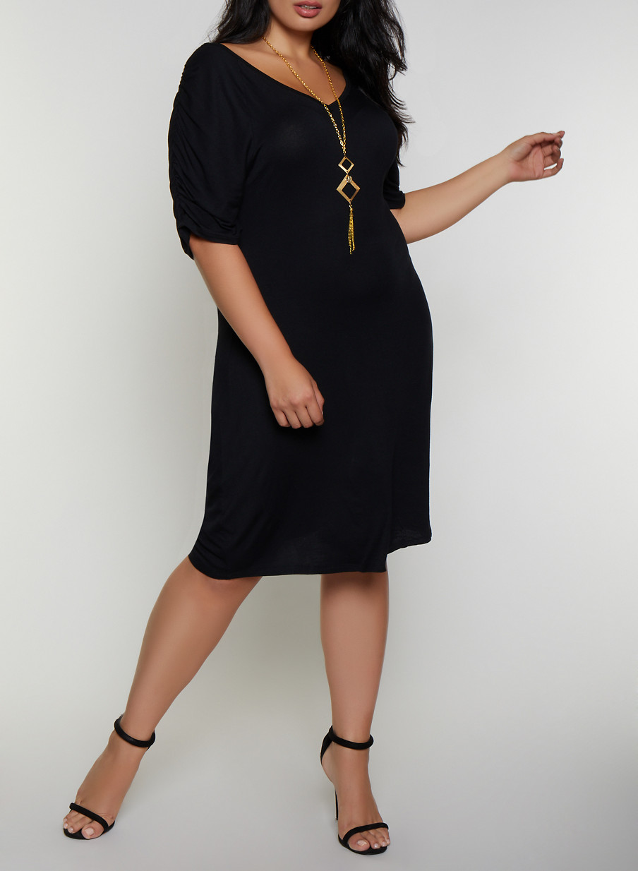 Plus Size Ruched Sleeve Shift Dress with Necklace