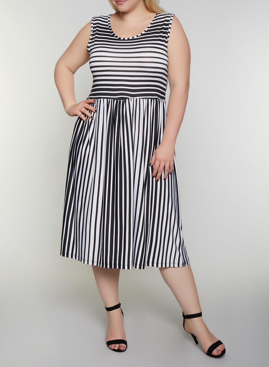 Plus Size Sleeveless Striped Skater Dress
