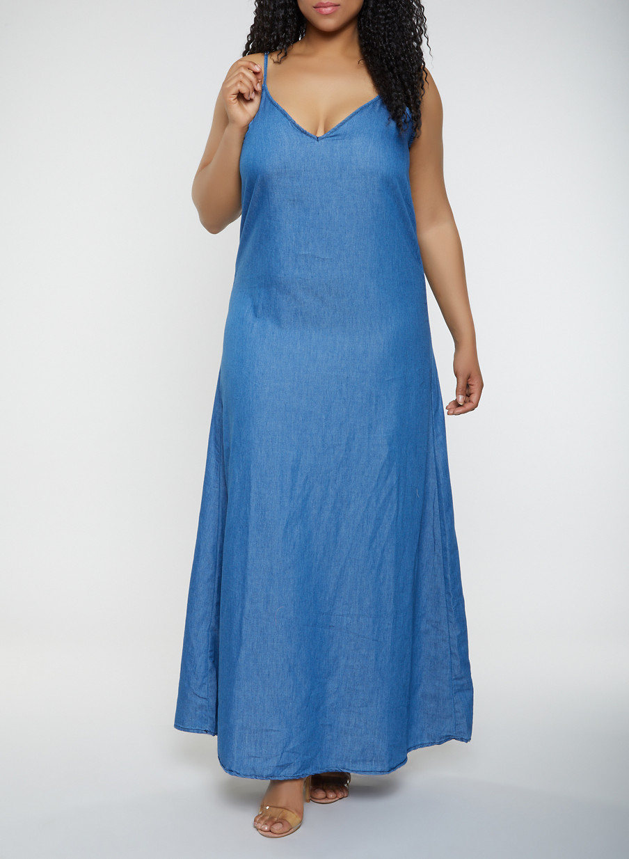 c1db581a Plus Size Chambray Maxi Shift Dress - Rainbow