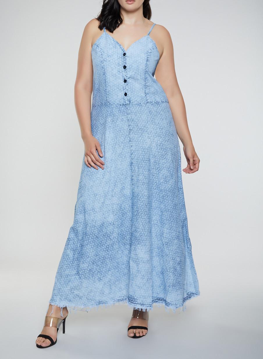Plus Size Star Print Denim Maxi Dress