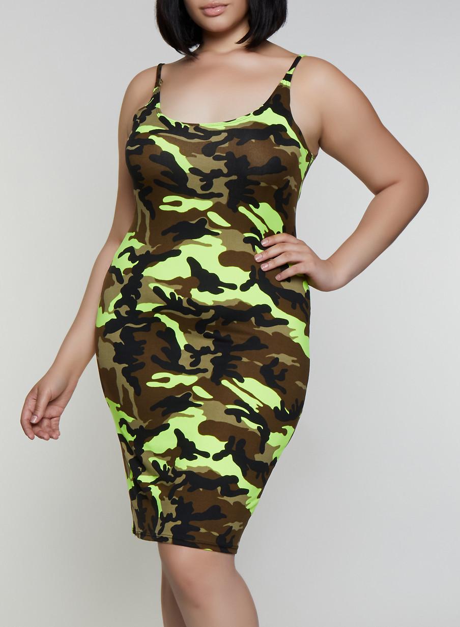 bdc823fbcf570 Plus Size Camo Cami Dress - Rainbow