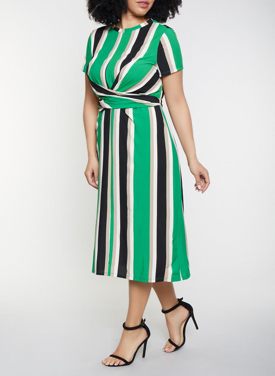 Plus Size Twist Front Striped Dress - Rainbow