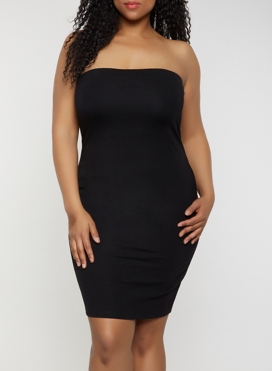 Plus Size Solid Ponte Tube Dress