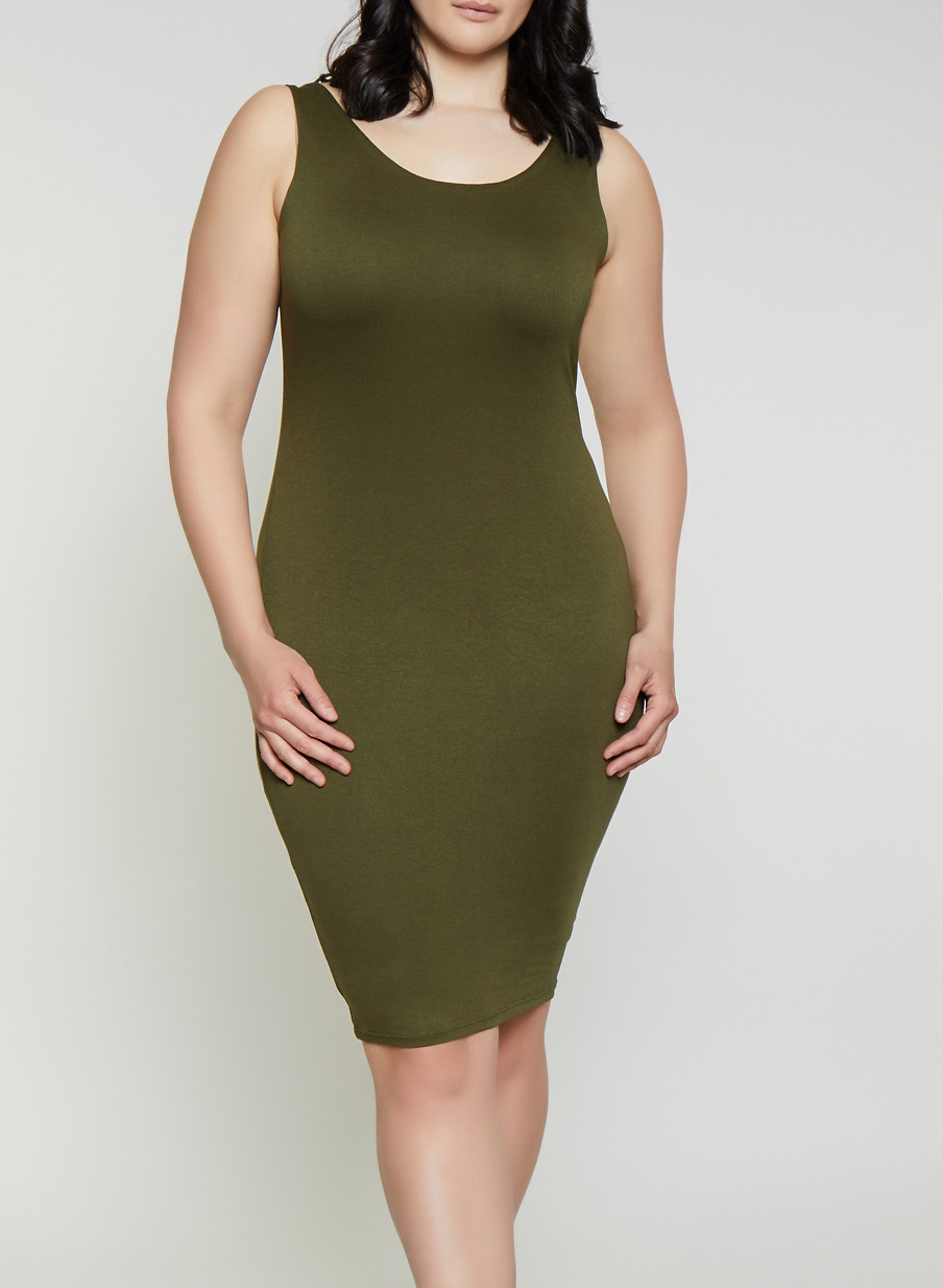 Plus Size Solid Bodycon Dress | 3930069396915