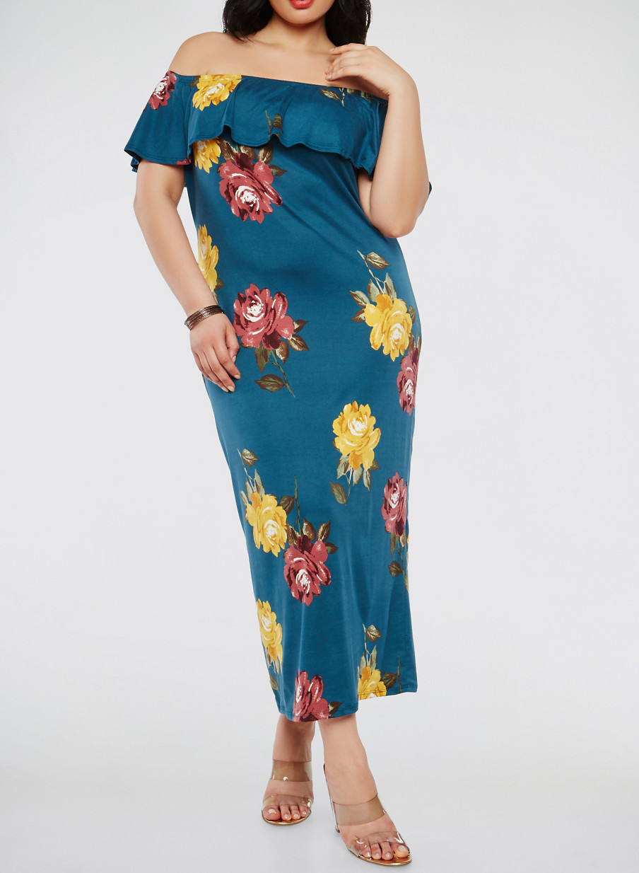 Plus Size Floral Off the Shoulder Maxi Dress - Rainbow
