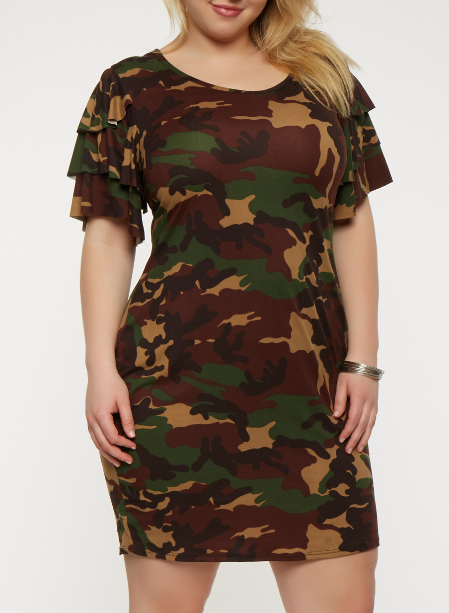 Plus Size Camo Tiered Sleeve T Shirt Dress Rainbow