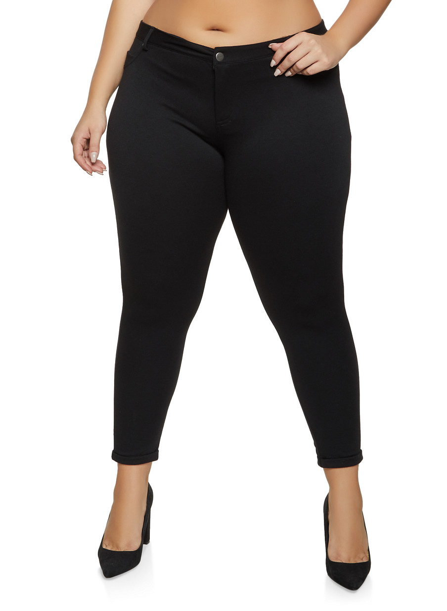 Plus Size Rolled Cuff Pants