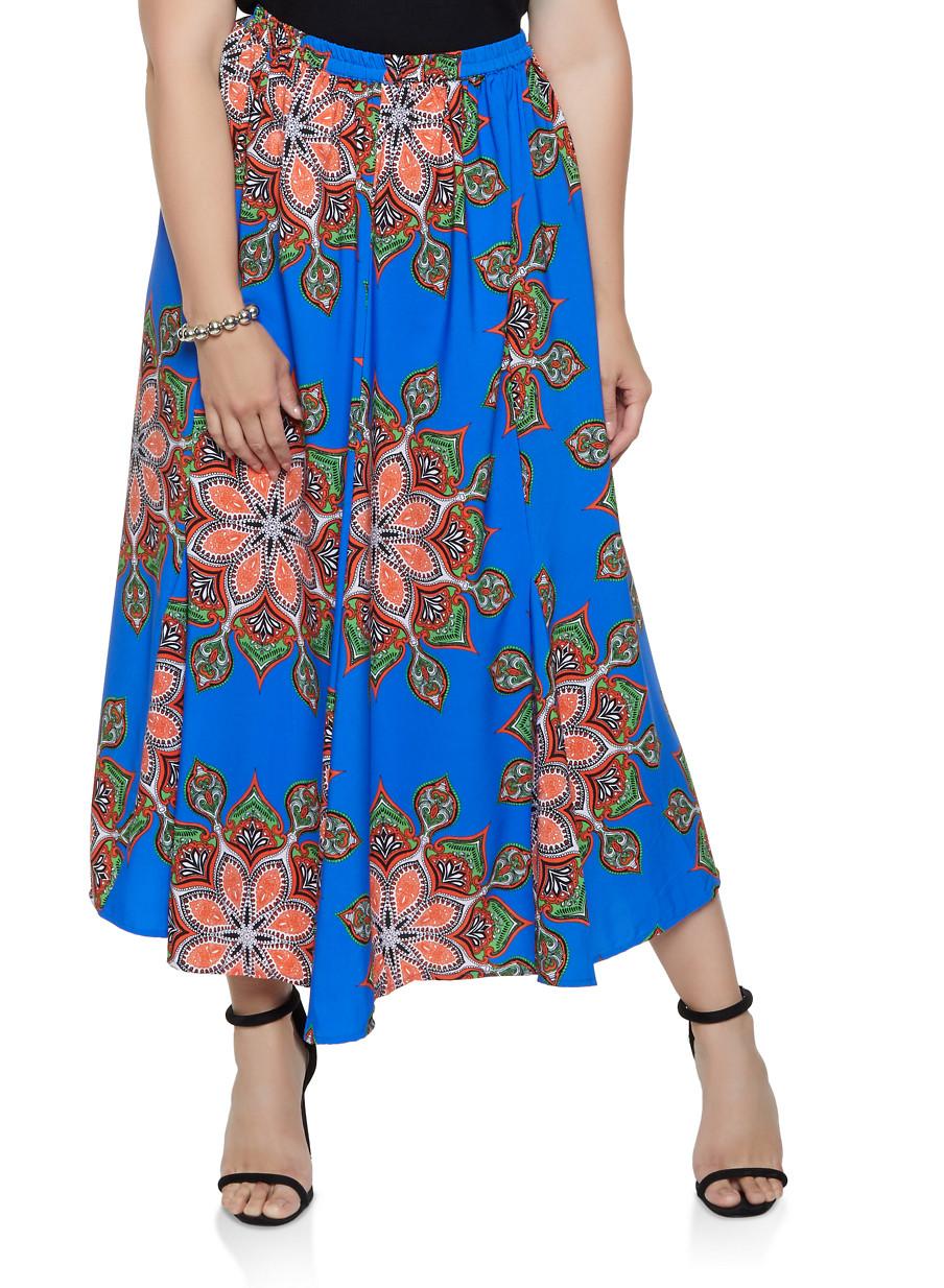 fac962a272c Plus Size Printed Maxi Skater Skirt - Rainbow