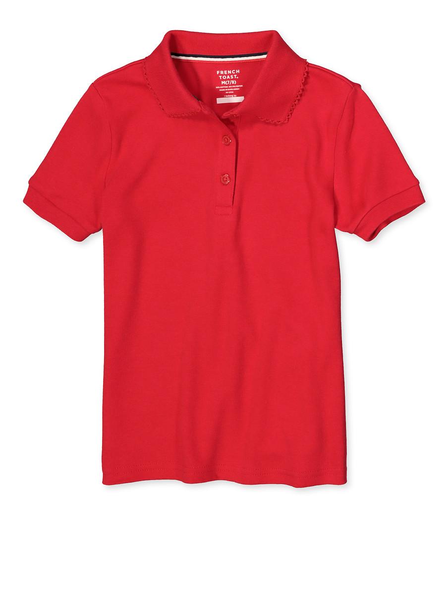 French Toast Girls School Uniform Short Sleeve Polo Shirt Red Size 7-14