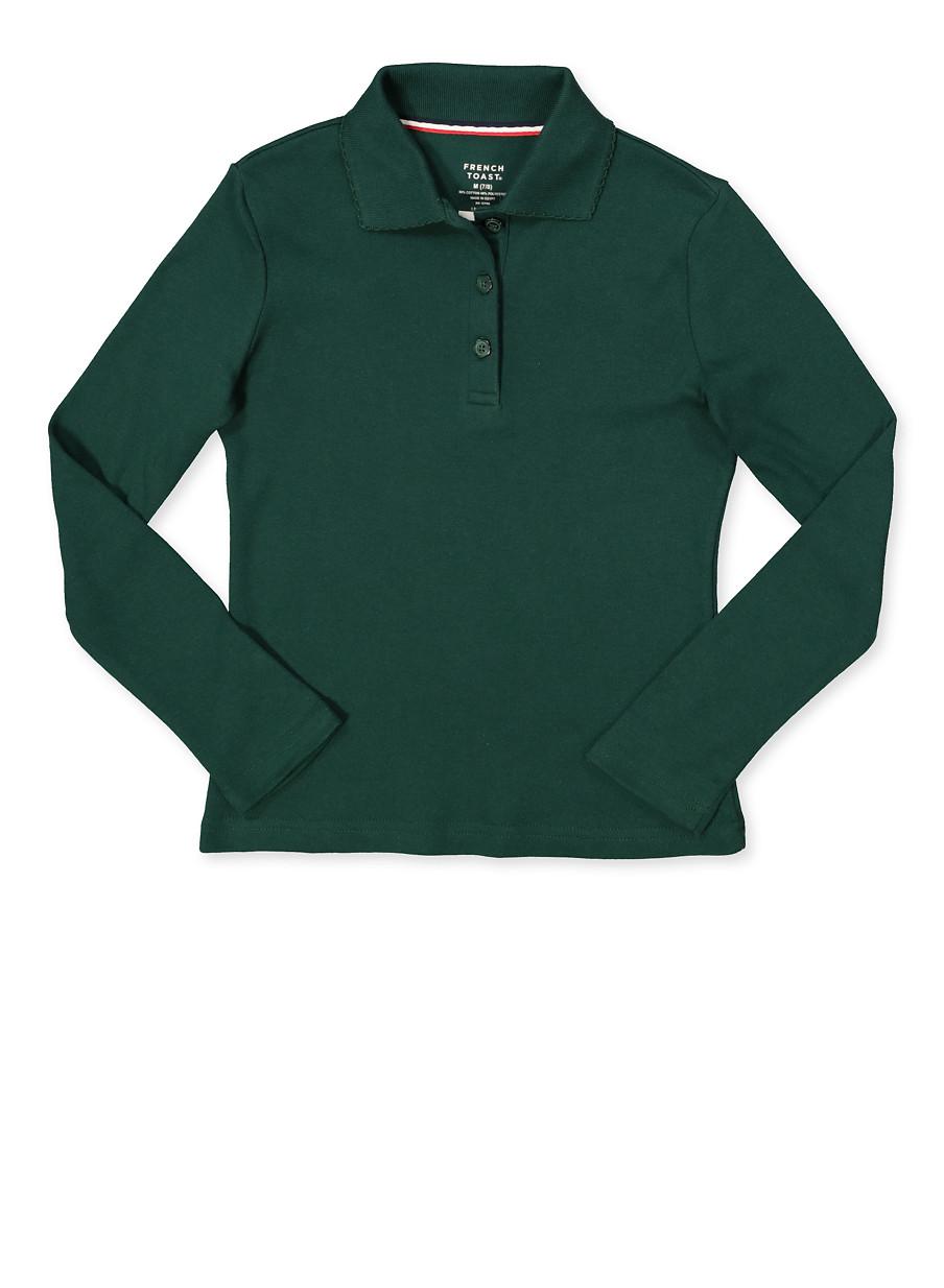French Toast Girls School Uniform Long Sleeve Polo Shirt Green Size 7-14
