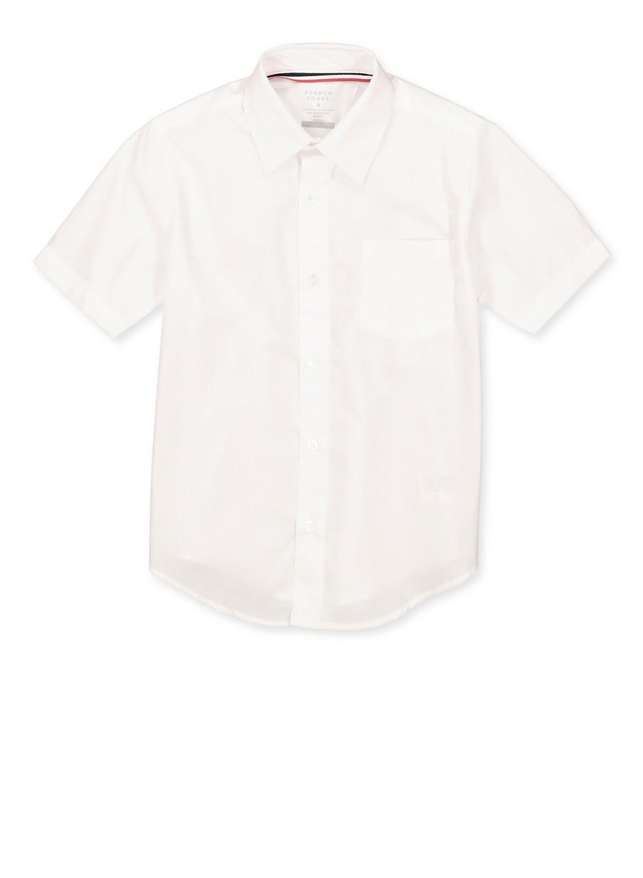 French Toast Boys School Uniform Short Sleeve Dress Shirt White Size 8-14
