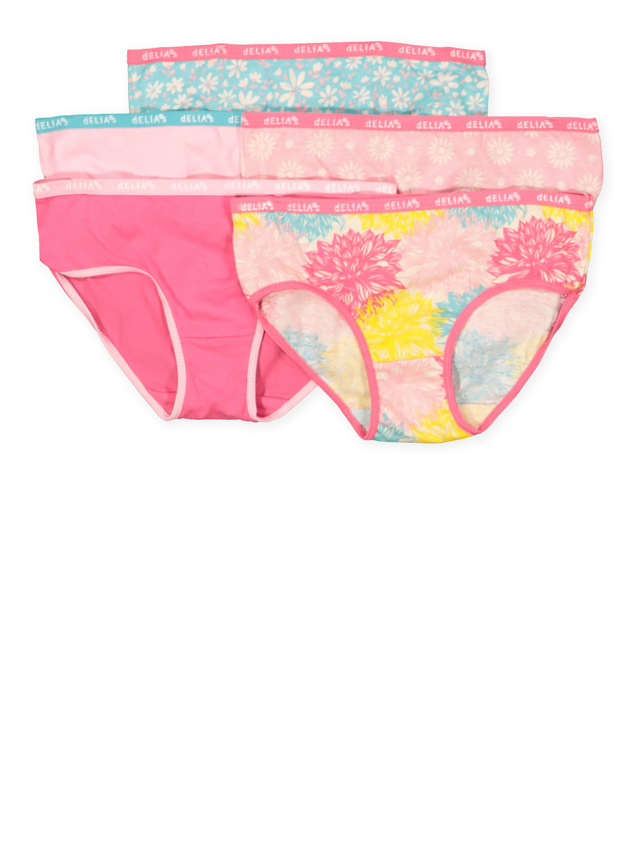 d9348fc1780 Girls 7-16 Floral Hipster Panties 5 Pack - Rainbow