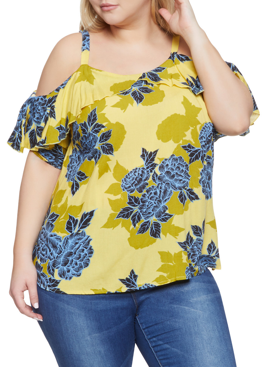 8d174256e45 Plus Size Floral Ruffled Off the Shoulder Top - Rainbow