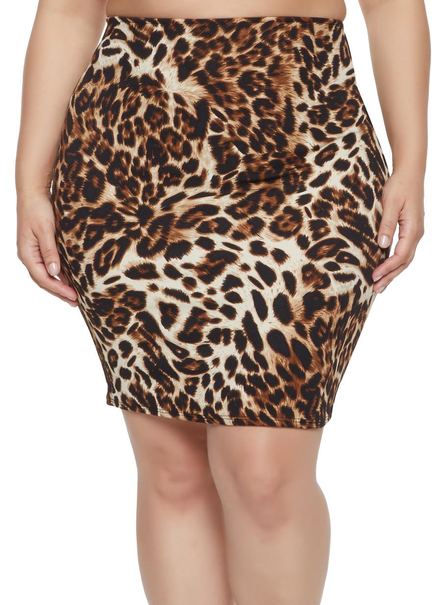 475f5fa74fa Plus Size Leopard Print Pencil Skirt - Rainbow