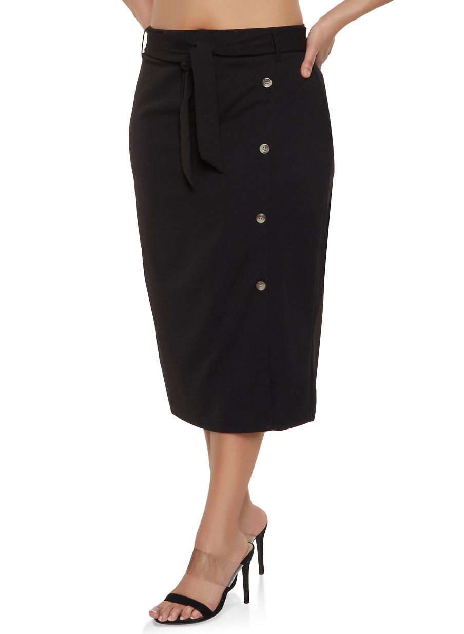 8476ad70e46 Plus Size Button Detail Tie Waist Pencil Skirt - Rainbow