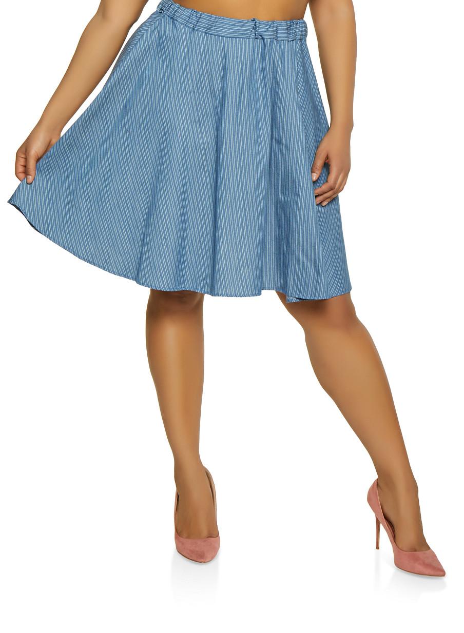 ac4e654d56c67 Plus Size Chambray Midi Skater Skirt - Rainbow