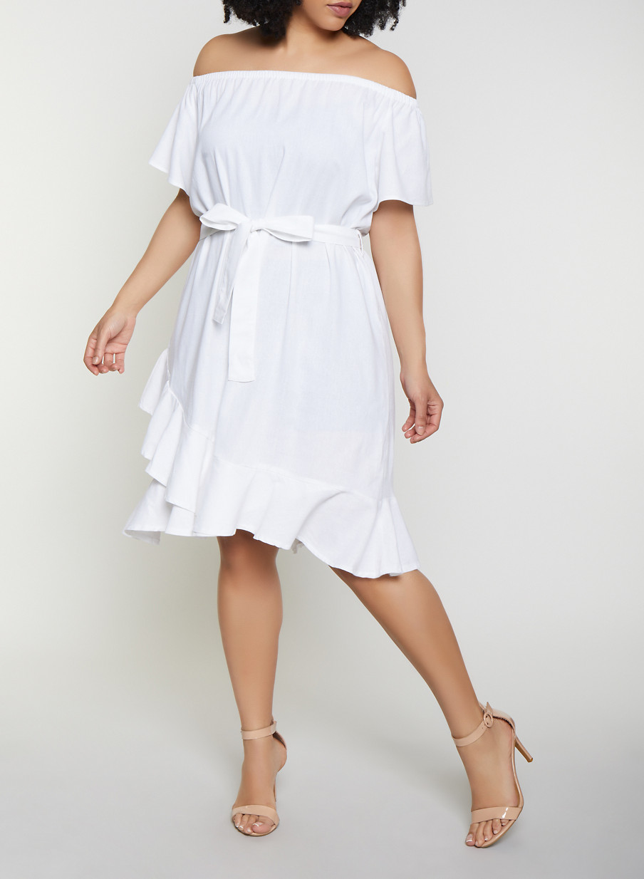 Plus Size Ruffled Off the Shoulder Linen Dress - Rainbow