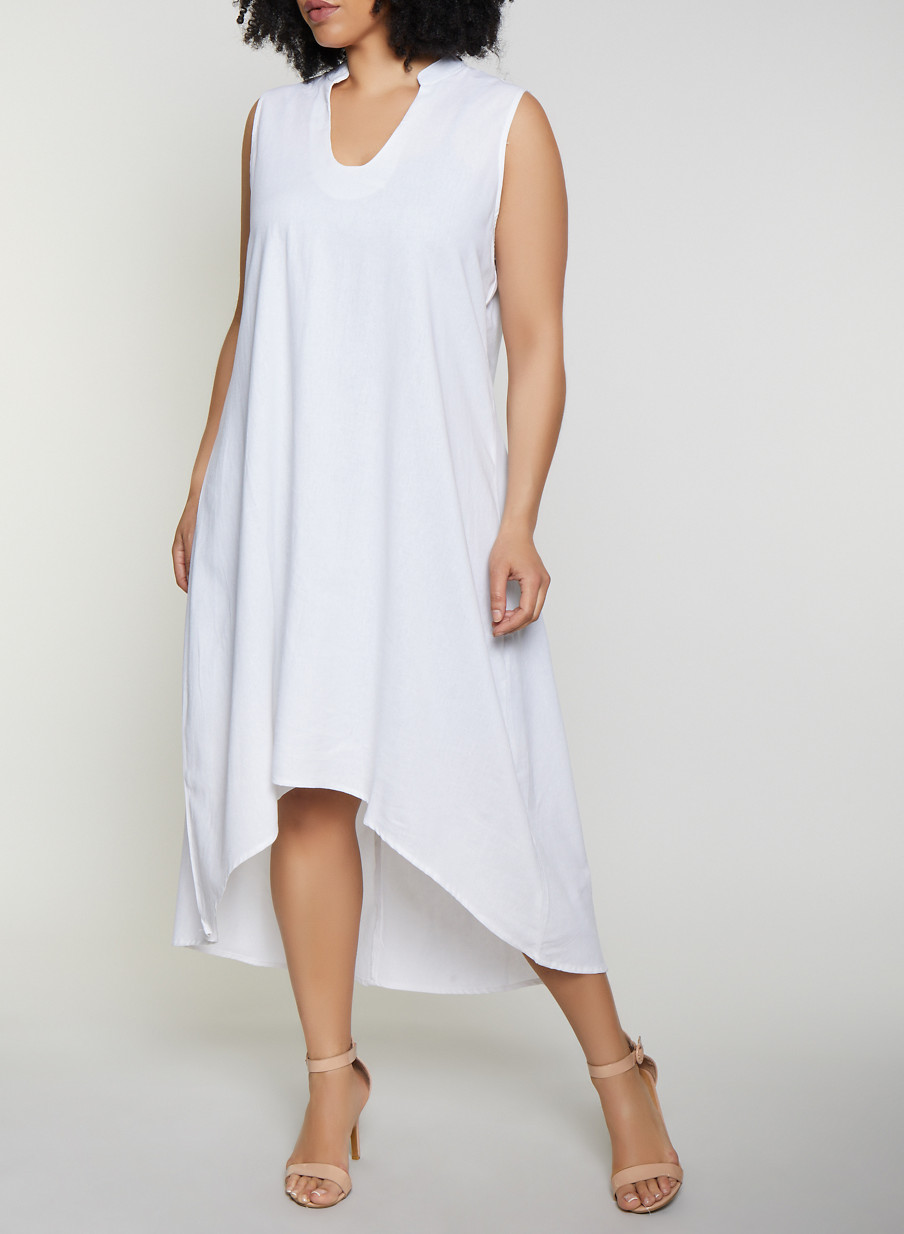 4f6f2b66e43 Plus Size High Low Linen Dress - Rainbow