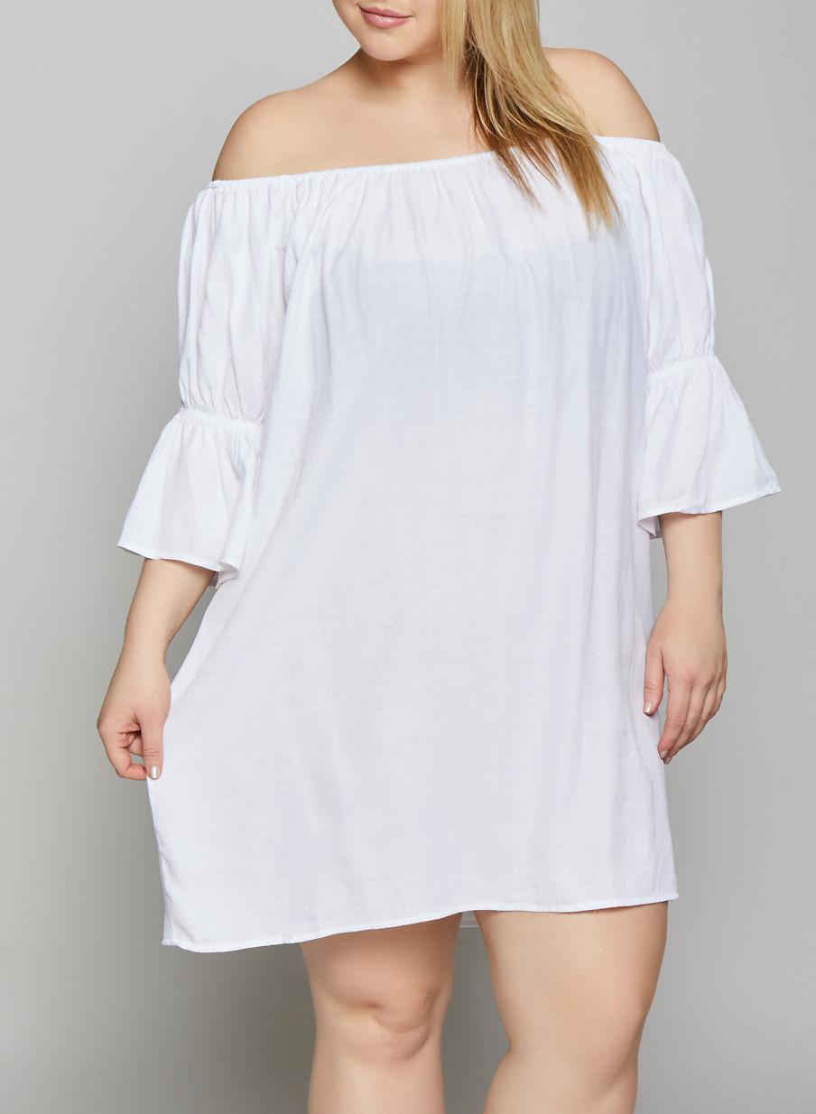Plus Size Off the Shoulder Peasant Dress - Rainbow