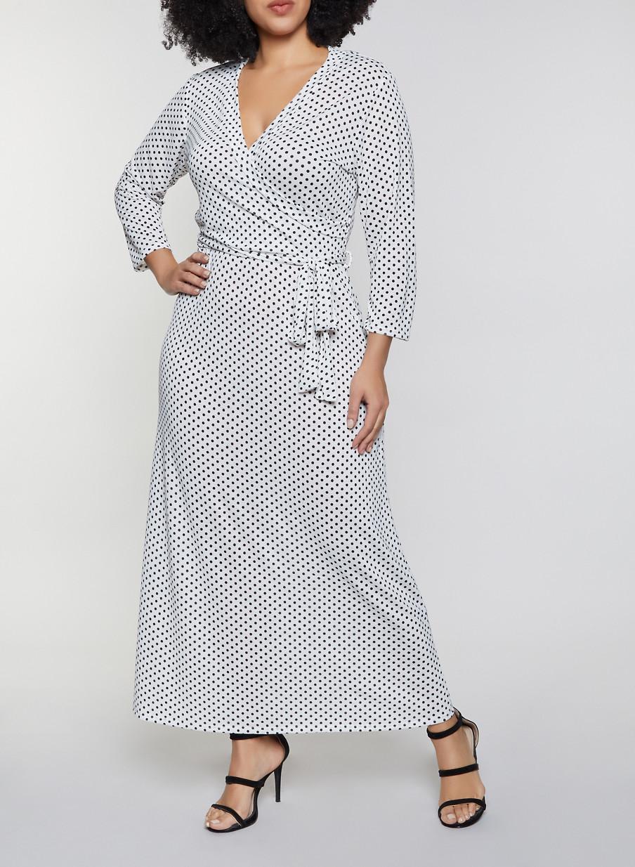 Plus Size Faux Wrap Polka Dot Maxi Dress