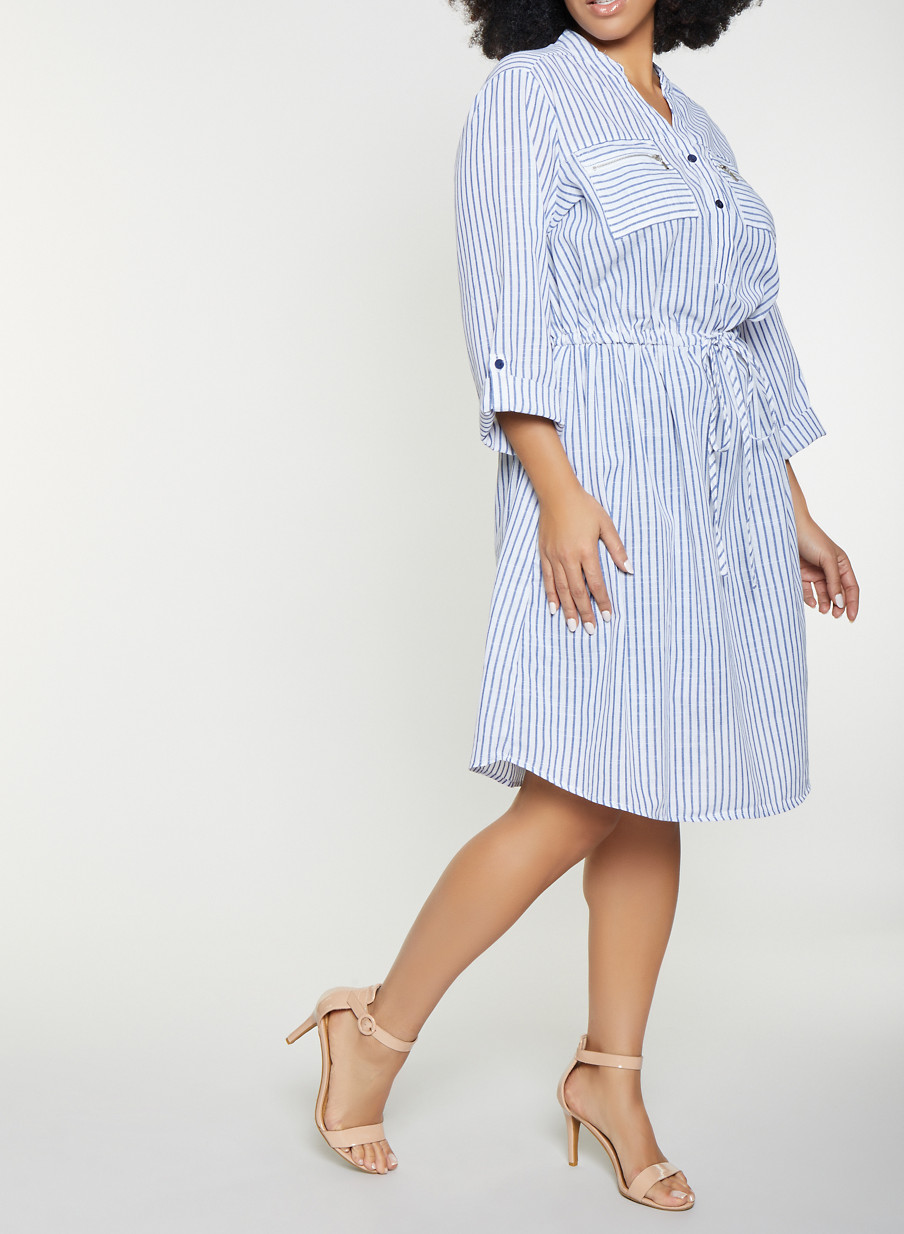 8b5efff63ce Plus Size Striped Linen Shirt Dress - Rainbow