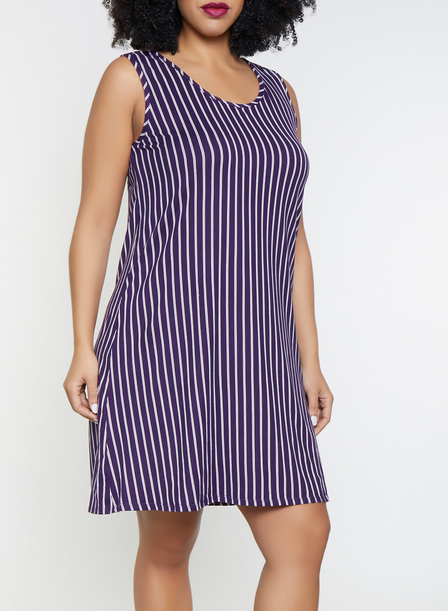 b5c16b3a08b Plus Size Striped Tank Dress